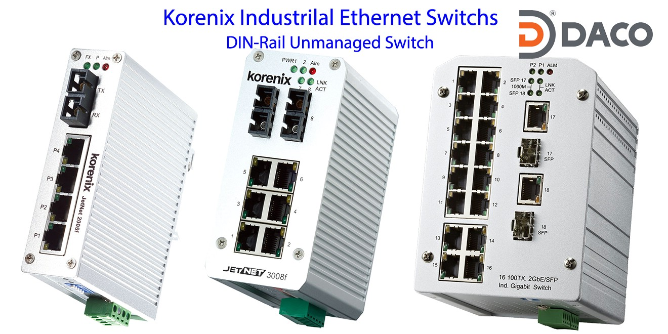 Korenix JetNet-DIN-Rail Unmanaged Ethernet Switches